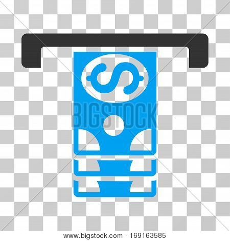 Banknotes Withdraw icon. Vector illustration style is flat iconic bicolor symbol blue and gray colors transparent background. Designed for web and software interfaces.
