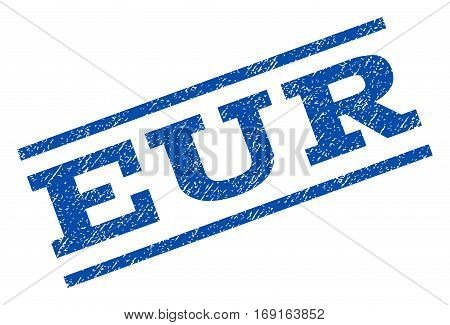 Eur watermark stamp. Text tag between parallel lines with grunge design style. Rotated rubber seal stamp with dirty texture. Vector blue ink imprint on a white background.