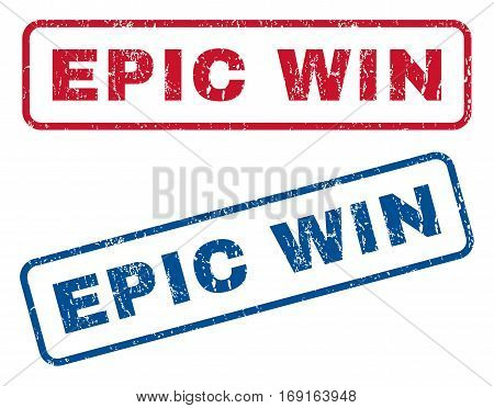Epic Win text rubber seal stamp watermarks. Vector style is blue and red ink tag inside rounded rectangular shape. Grunge design and unclean texture. Blue and red signs.