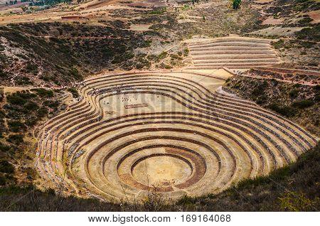 Moray Inca Ruins. The Incan agricultural terraces at Moray