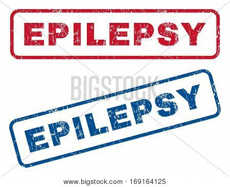 Epilepsy text rubber seal stamp watermarks. Vector style is blue and red ink tag inside rounded rectangular banner. Grunge design and unclean texture. Blue and red emblems.