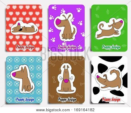 Fun dogs with cute backgrounds. Set of cute puppy images for children illustrations, package design, wrapping, mugs, greeting cards or textile design. Vector