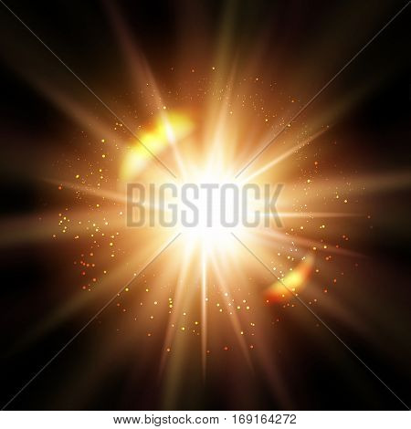 Abstract shiny sun or explosion on dark background - vector illustration