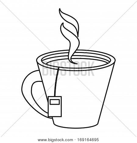 tea hot cup herb aromatic thin line vector illustration eps 10