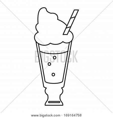 glass cup drink cream glace straw fresh thin line vector illustration eps 10