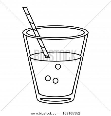 glass cup fresh drink with straw thin line vector illustration eps 10