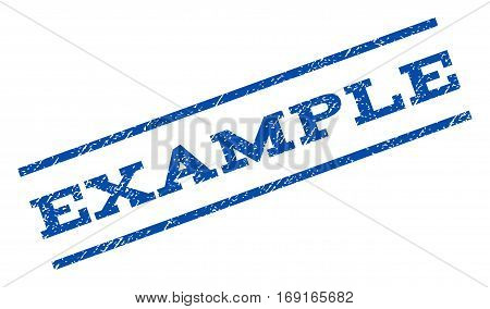 Example watermark stamp. Text tag between parallel lines with grunge design style. Rotated rubber seal stamp with unclean texture. Vector blue ink imprint on a white background.