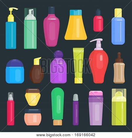 Set of cosmetic tubes isolated on white. Colorful product spray hygiene blank place for your text. Vector packaging body gel beauty container.