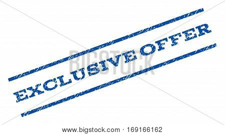 Exclusive Offer watermark stamp. Text caption between parallel lines with grunge design style. Rotated rubber seal stamp with scratched texture. Vector blue ink imprint on a white background.
