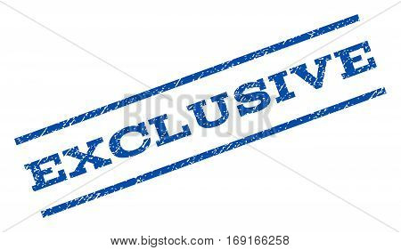 Exclusive watermark stamp. Text caption between parallel lines with grunge design style. Rotated rubber seal stamp with dirty texture. Vector blue ink imprint on a white background.