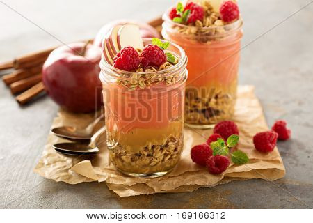 Applesauce and raspberry puree parfait with cinnamon and granola
