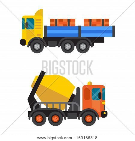 Concrete mixer work machinery transport. Cement industry equipment machine.