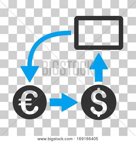 Cashflow Euro Exchange icon. Vector illustration style is flat iconic bicolor symbol blue and gray colors transparent background. Designed for web and software interfaces.