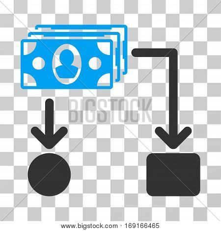 Cashflow icon. Vector illustration style is flat iconic bicolor symbol blue and gray colors transparent background. Designed for web and software interfaces.