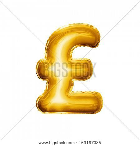 Balloon Pound currency symbol. Realistic 3D isolated gold helium balloon abc alphabet golden font text. Special sign decoration element for birthday or wedding greeting design on white background