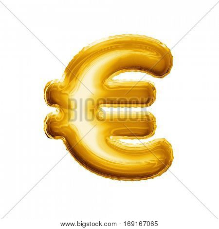 Balloon Euro currency symbol. Realistic 3D isolated gold helium balloon abc alphabet golden font text. Special sign decoration element for birthday or wedding greeting design on white background