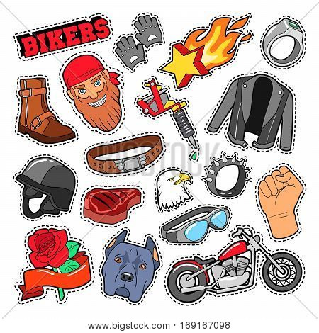 Bikers Elements with Chopper and Motorcycle for Prints, Stickers, Patches, Badges. Vector Doodle