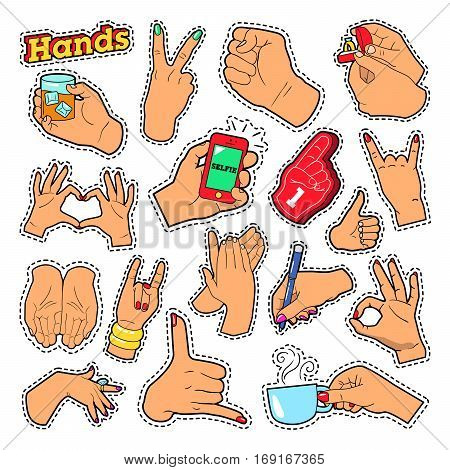 Hands Signs with Ok Victory Rock for Prints, Badges, Patches, Stickers. Vector Doodle