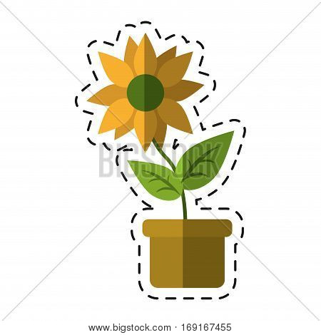 flower pot leaves garden nature -cut line vector illustration eps 10