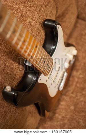 Vintage Fender Stratocaster guitar in sunburst finish