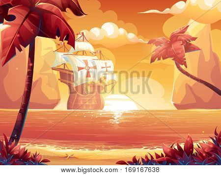 Vector cartoon illustration of a crimson sun sunrise or sunset on the sea with galleon. For print create videos or web graphic design user interface card poster.