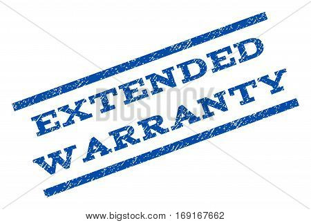 Extended Warranty watermark stamp. Text tag between parallel lines with grunge design style. Rotated rubber seal stamp with unclean texture. Vector blue ink imprint on a white background.