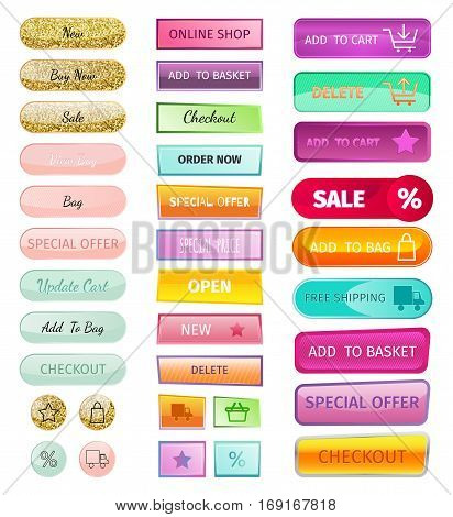 On-line shopping web icons sale store buttons. Delivery interface internet symbol commerce. Advertising business basket modern glossy sticker. Isolated bttons