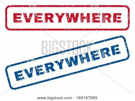 Everywhere text rubber seal stamp watermarks. Vector style is blue and red ink tag inside rounded rectangular shape. Grunge design and dust texture. Blue and red emblems.
