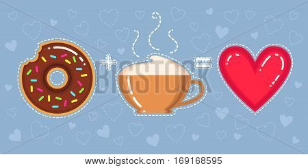 Flat design vector illustration of donut with chocolate glaze cappuccino cup and heart on blue background