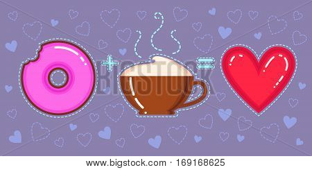 Flat design vector illustration of chocolate donut with pink glaze cappuccino cup and red heart on violet background