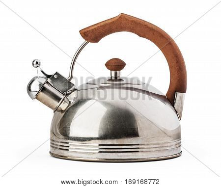 Stovetop whistling kettle isolated on white background with clipping path.