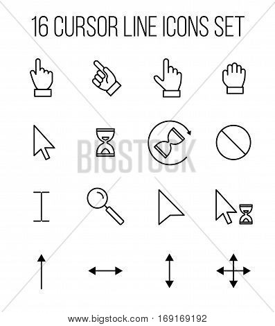 Set of cursor icons in modern thin line style. High quality black outline arrow symbols for web site design and mobile apps. Simple cursor pictograms on a white background.