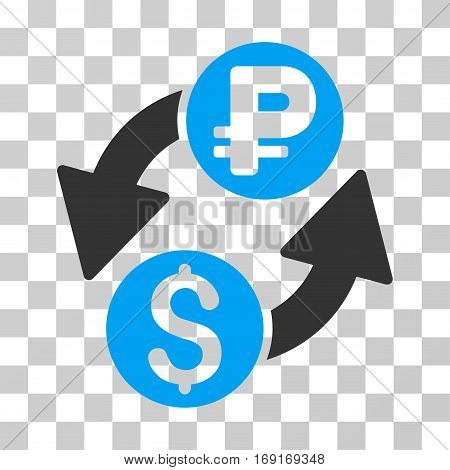 Dollar Rouble Exchange icon. Vector illustration style is flat iconic bicolor symbol blue and gray colors transparent background. Designed for web and software interfaces.