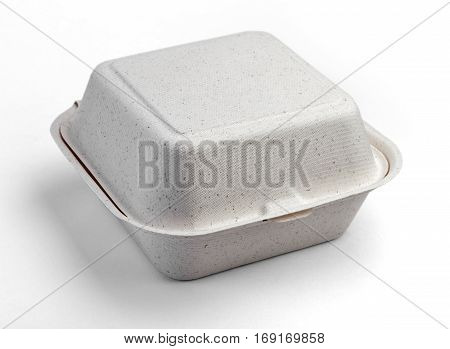 Full face. A white food box, packaging for hamburger, lunch, fast food, burger and sandwich, isolated on white background with clipping path.