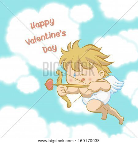Cupid flying among heart shaped cloud aiming with bow and arrow with one eye close and stick-out tongue to celebrate Valentine's day in cartoon style