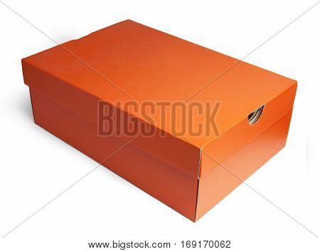 Closed cardboard box, full face. Orange and brown paper box isolated on white background with clipping path.