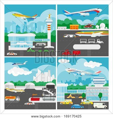 Vector banner of airport landscape. Illustration with aircraft travel, terminal building, luggage service and passenger transport. Arrivals or departures airliner from airport. Flat design elements