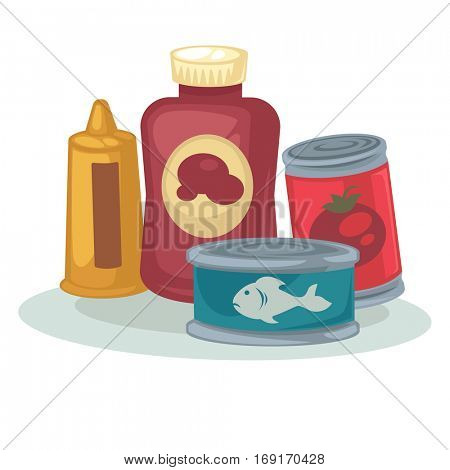 Product: mustard, sauce, can of tomato and tuna canned. Conserved food: vegetable and tinned fish in metal container. Vector cartoon illustration isolated on white background