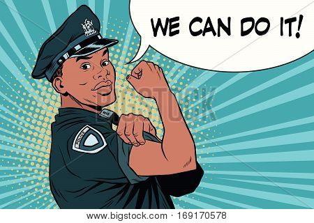 Black COP we can do it. Vintage pop art retro vector illustration. The profession of police officer. Law and order. African American