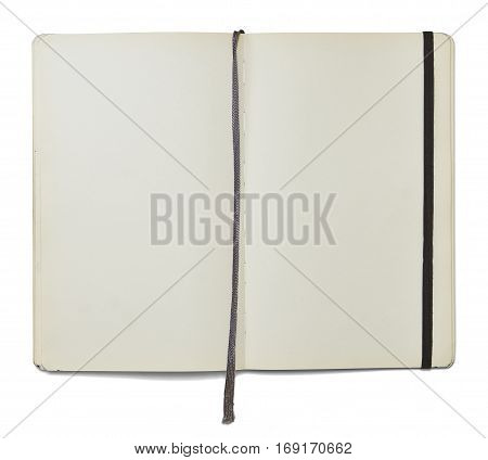 Blank open note book with a bookmark and an elastic closure isolated on white background in front view. Clipping path.