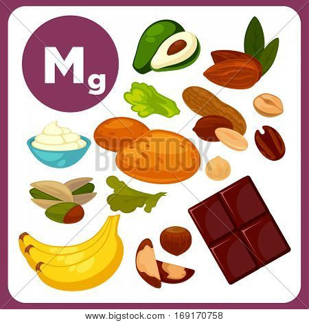 Set with illustrations of food with mineral Mg. Ingredients for health: salad, chocolate, avocado and banana. Healthy nutrition, diet with product magnesium sources. Vector icons in cartoon design