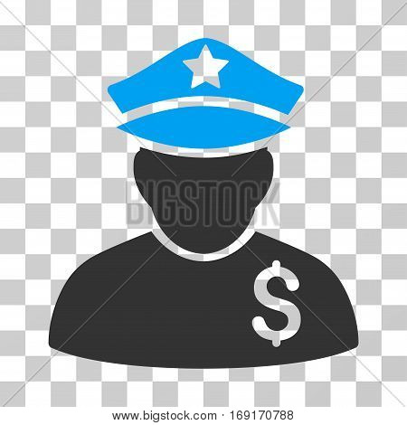 Financial Policeman icon. Vector illustration style is flat iconic bicolor symbol blue and gray colors transparent background. Designed for web and software interfaces.