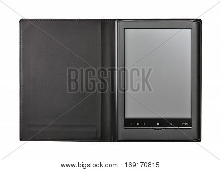 Electronic book isolated on white with clipping path.