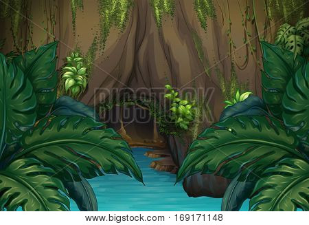 Jungle scene with river and cave illustration