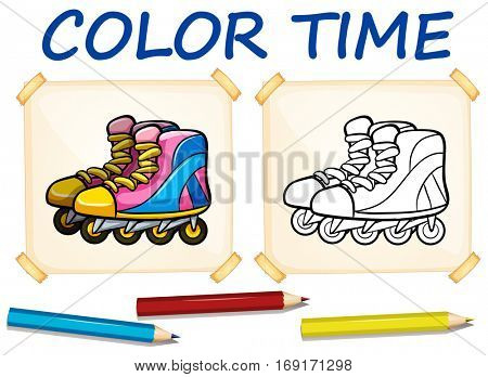Coloring template with rollerskates illustration