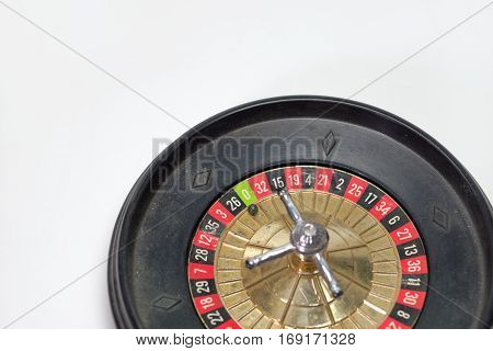 toy roulette wheel for freestanding. zero in focus