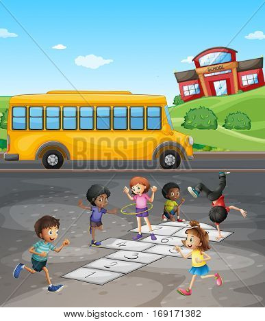 School campus with students playing in the field illustration