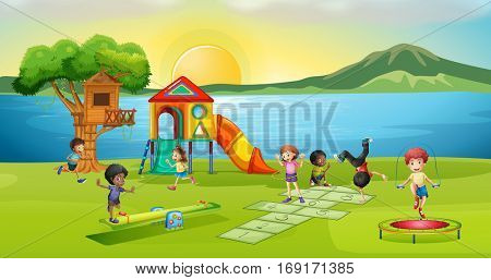Children playing in playground at sunset illustration