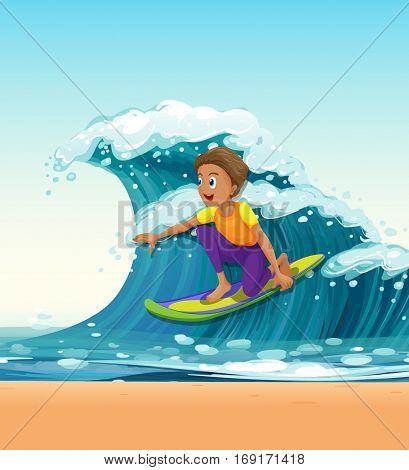 Man surfing on big waves illustration