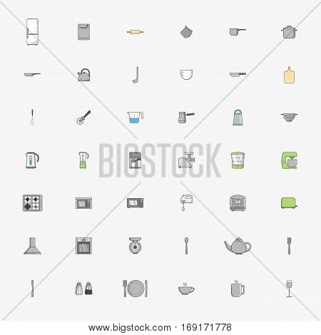 Big vector set of fourty two icons of kitchen appliances in flat style. Icons on grey background.